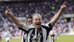 SUNDERLAND, UNITED KINGDOM - APRIL 17:  Newcastle captain Alan Shearer celebrates after scoring the second goal  during the Barclays Premiership match between Sunderland and Newcastle United at The Stadium of Light on April 17 2006 in Sunderland, England  (Photo by Stu Forster/Getty Images)
