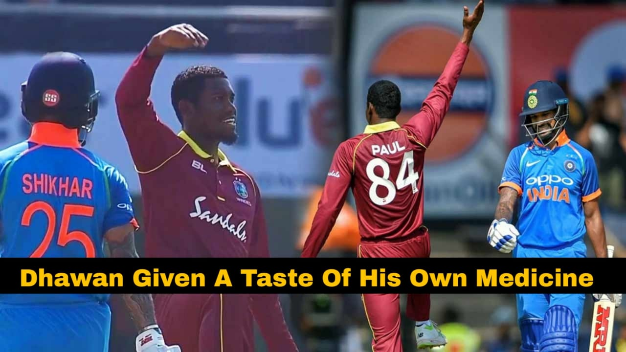 WATCH: Windies cricketer mocks Shikhar Dhawan with thigh five celebration after picking his wicket
