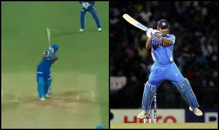 M.S dhoni indian cricketer helicopter shot scene