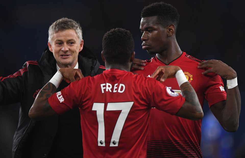 Manchester United Paul Pogba Fred and Ole Gunnar Solskjaer-the12thman.in