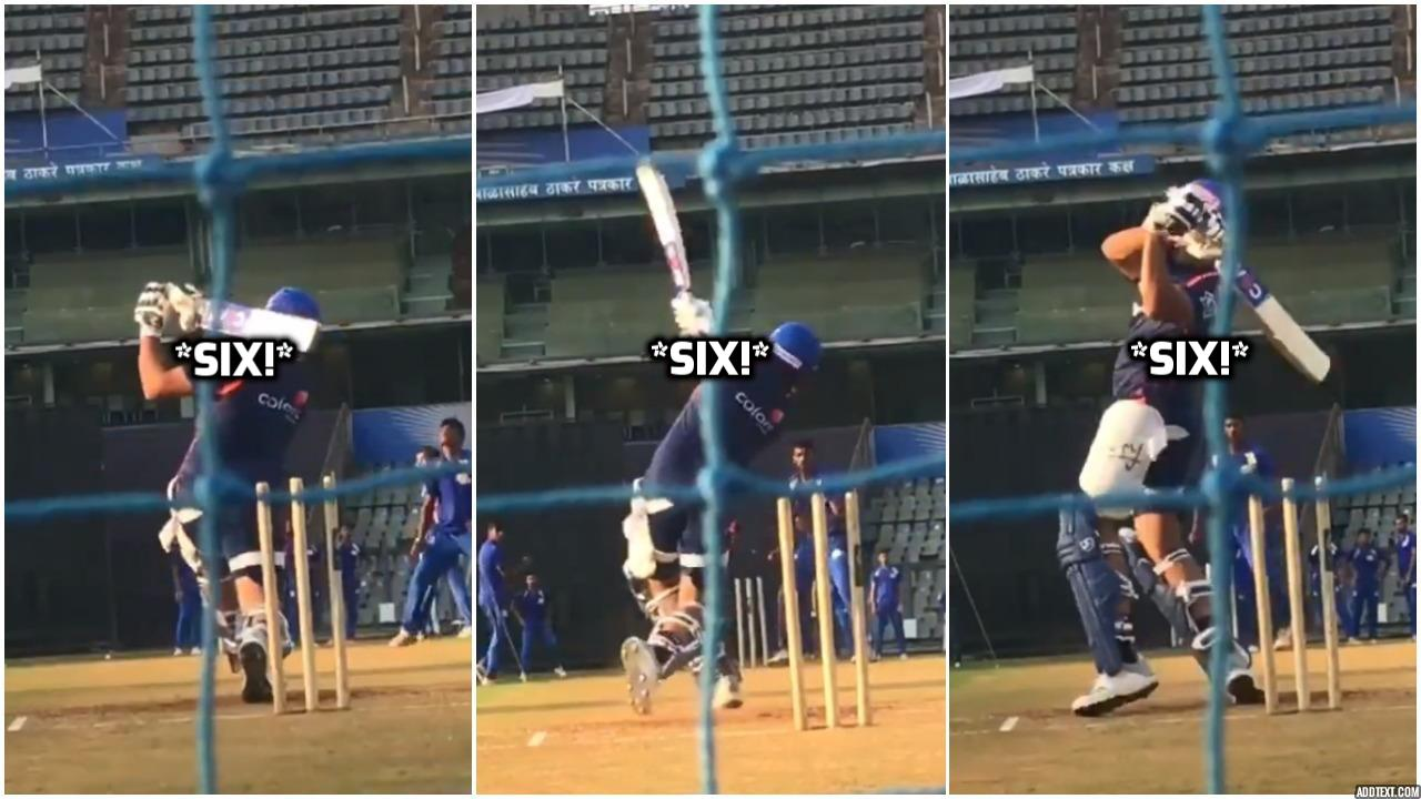 Rohit sharma smashes ball in theMI nets ahead of IPL19