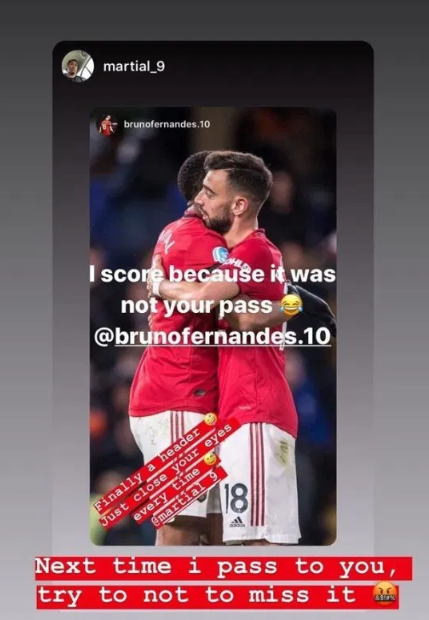 Anthony Martial jokingly mocked by Bruno Fernandes after their win over Watford