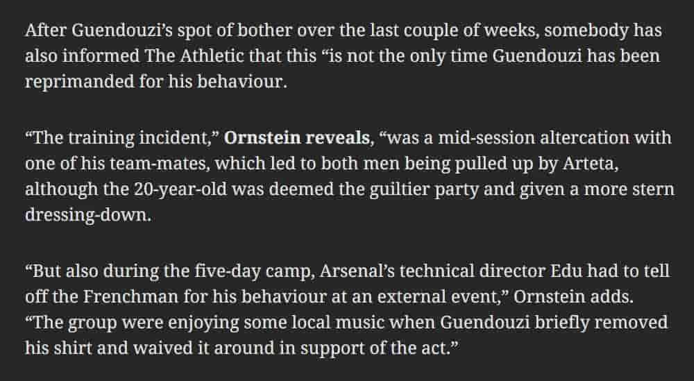 David Ornstein deciphers what's with Guendouzi in Dubai and Arteta's new standpoint