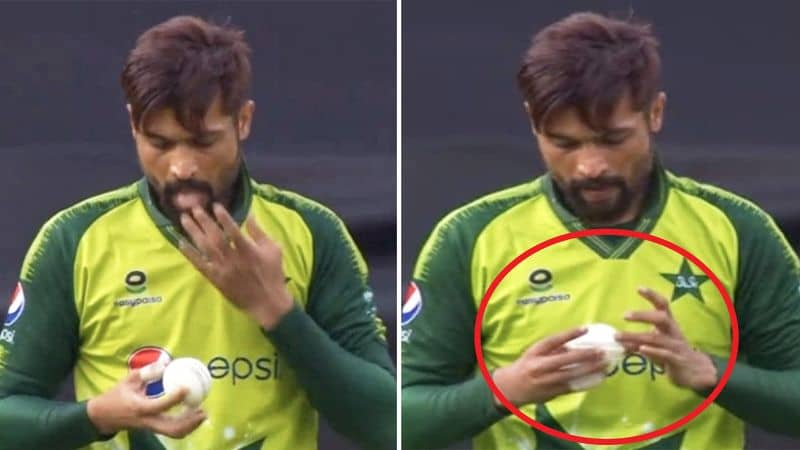 Mohammad Amir caught using saliva on the ball during the first T20I against England