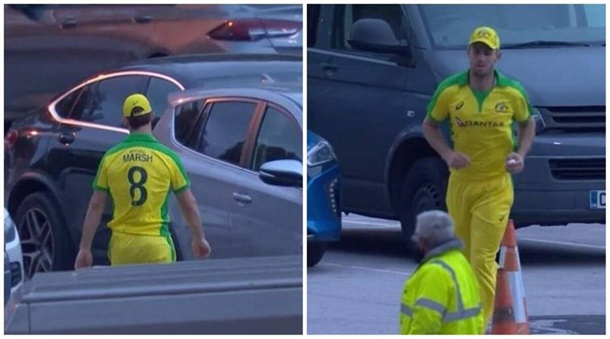 Sam Billings' six forces Mitchell Marsh to fetch ball from parking lot