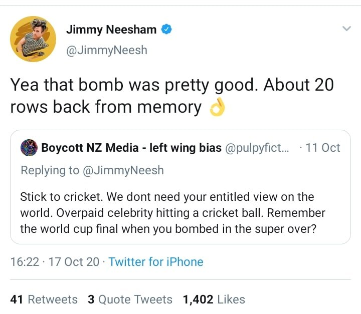 Troll calls Jimmy Neesham 'Overpaid cricketer'; Kiwi all-rounder responds
